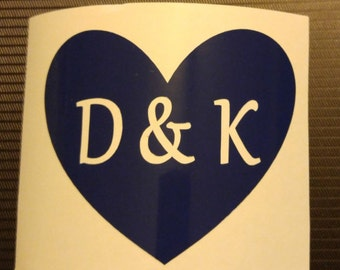 Heart w/initials, names, Newlywed, or Just Married Decal - permanent vinyl - perfect for  weddings, car windows, Yeti & Rtic cups, etc.