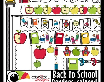 Back to School Clipart, Back to School Borders, School Supplies Clip Art, Digital Borders, Printable