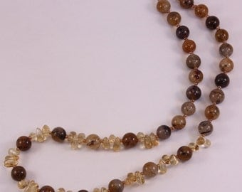 Necklace with quartz and Citrine