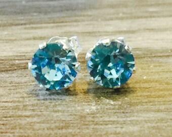 Aquamarine Swarovski Crystal Sterling Silver Earrings