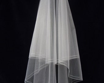 Wedding Veil - Parallel line Cornely embroidery - All sizes!