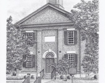 """Framed Lawrenceville Female Seminary Drawing - Original Drawing in Graphite 8""""x10"""""""