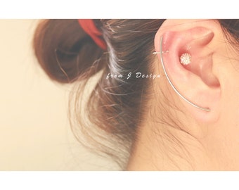 Thin Curved Long Line Ear Cuff Earrings/ RIGHT SIDE-1pcs