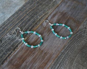 Green Beaded Hoop Earrings, Beaded Hoop Earrings, Teardrop Beaded Earrings, Green and Silver Hoops, Green and Clear, Large Beaded Hoops