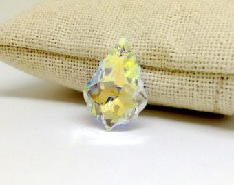 22mm Faceted Baroque Pendant, Swarovski Crystal, Crystal AB, Swarovski Pendant, Teardrop Crystal, Crystal Clear Drop,Neckace Findings,YC0762