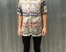 Vintage retro short sleeved shirt. 80s style, tie dye patterned. Unique alternative.