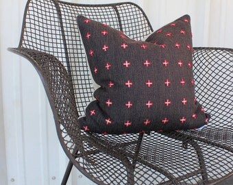 Red Cross Boho Throw Pillow: Hand Embroidered