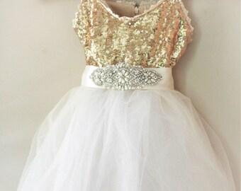 Ivory Flower Girl Dress- Gold Dress- Beige  Flower Girl Dress- Gold Birthday Girl Dress