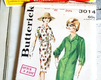 1960s Butterick 3014 Misses Shirtdress Size 20.5 UNCUT Sewing Pattern