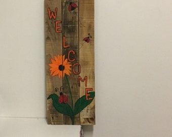 Hand painted Ladybug Welcome sign