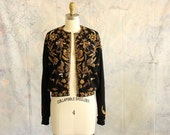 1950s beaded cardigan by Bonnie Wong, made in Hong Kong, black & gold angora lambs woold cardigan sweater, heavily beaded, crepe lined large