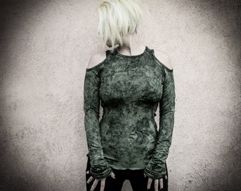 DUSTY - Military Green Long Sleeves Shirt, Holes on shoulders, Dystopian Clothing Alternative Hand Paint Post Punk Grunge Decay Apparel