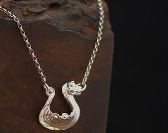 Fierce viking ship pendant on a fine silver chain, original hand-carved longship with growling beast figurehead