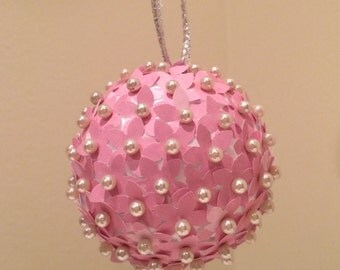 Pink Paper Flower Ornament: Handmade and Unique!