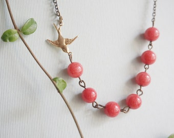 Coral Necklace Coral Jewelry Gemstone Necklace Bird Necklace Bridesmaid Gift Bridesmaid Jewelry Wedding Jewelry Set Beaded Necklace Gift