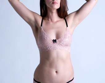 Ready to Ship SALE - 34B Bra - Blush Lace with Black Detail Made to Order 'Sassafras' Bra - Sheer Lingerie