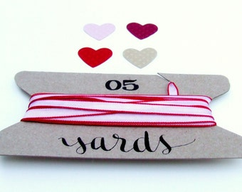 "Sweet White and Red Edge Ribbon, DIY Card Making, Party Packaging Gift Ribbon, 5 Yards, 1/4"" Wide Thin Ribbon"