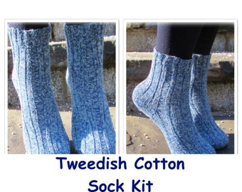 KIT - Tweedish Cotton Socks by Deborah Tomasello in 3-ply Cotton Tweed with nylon for reinforcement