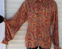 60s Men Atomic Shirt Vintage 1960s Mid Century Print FITTED Zip Cotton PUFFY Sleeve MOD Shirt L