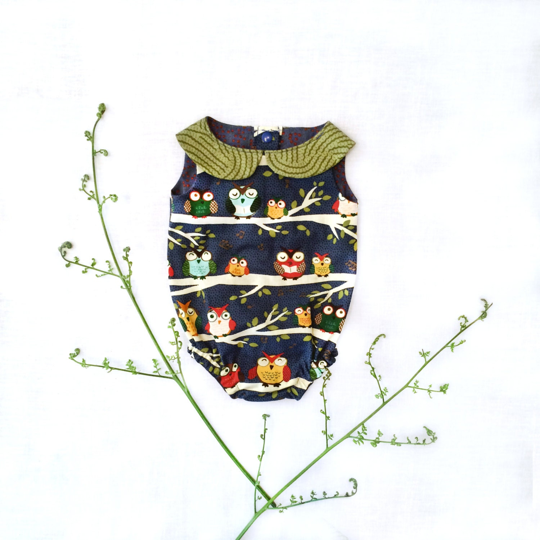Owl Baby Gifts Australia : Woodland owl baby romper unisex newborn gift collar cotton