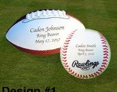 Ring Bearer Gift, Engraved Baseball, Engraved Mini Football, Wedding Gifts, Christmas Gift, Keepsake, Design #1