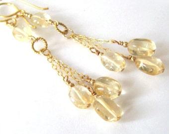 Citrine Gemstone Long Earrings, Goldfilled, Dangling Golden Drops November Birthstone