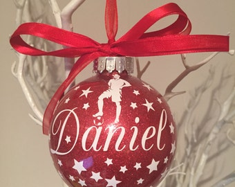 Soccer Football themed personalised Christmas Bauble