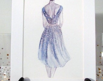 Twilit Dress Original Painting/ Fashion Illustration/Glitter/ Original Art