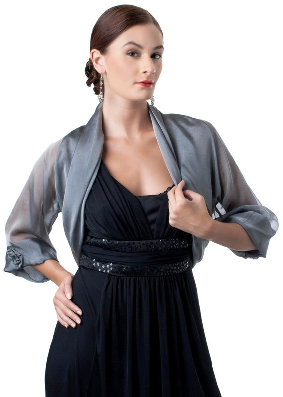 Silver-Grey Silk Evening Bolero Jacket CHRISTINA/ Sizes XS - 4XL