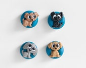 Puppy Dog Magnets. Home Office, Kitchen, Kids Room Decoration. Cute Stocking Stuffer Gift for Her, for Him, For Boys, for Girls. Set of 4