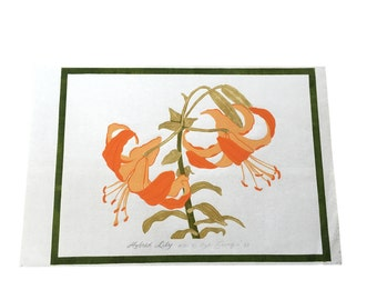Vintage Hybrid Lily | Woodblock Print | Hand Colored | Large Wall Art