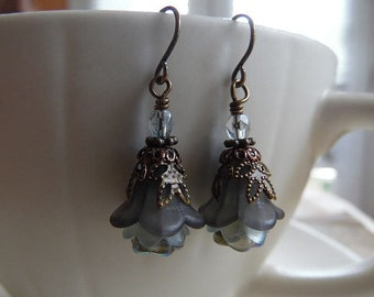 Flower Earrings with Smoke and Blue Lucite Flowers and Czech Glass
