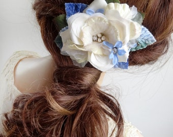 ivory and blue flower hair clip, vintage style wedding hair flower, light blue hair accessory, forget me nots, floral hair clip, hair piece
