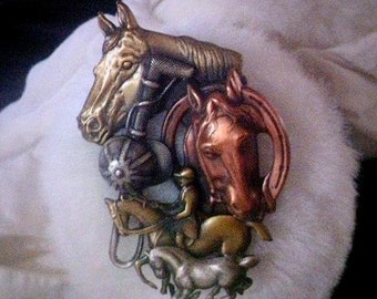 Vintage 1960s K & T Horse Brooch Pin . 60s Tri Color Copper Brass Silver Tone Metal Polo Brooch Pin . Horses Polo Player Polo Hat Polo Stick