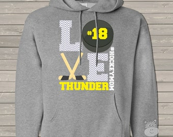 Hockey mom hoodie sweatshirt LOVE - great gift for birthday or Mother's Day