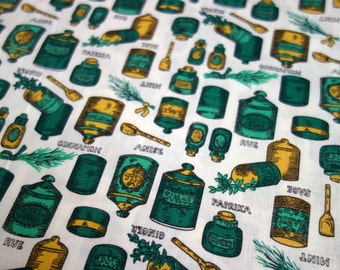 Vintage Kitchen Fabric, 3.8 Yds of Vintage Spice Jar Print Fabric in Green and Yellow, Tiny Jars and Home Decor Kitchen Canisters on Cotton