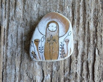Ochre Beach Pottery Jizo Bodhisattva Icon - Peace, Buddhism, Healing, Compassion, Subtle, Silent, Solitude, Meditation, Flowers, Meadow