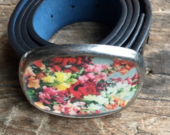 snapdragons image belt buckle repurposed vintage seed packet flowers pewter buckle pansy garden seeds blooms eco fashion