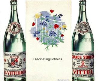 Vintage - Grande Source VITTEL - la Vittelloise , Mineralwater - MENU designed, colorful, 2 different pictures - Source Vittel -1960, french