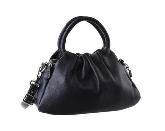 SALE - Navy blue Leather Purse, Handbag, Shoulder Bag, artoncrafts