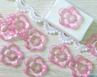 10 Light Pink acrylic flower beads , size 33 mm , daisy flower beads , transparent beads , Chunky beads , for DIY craft and Jewelry projects