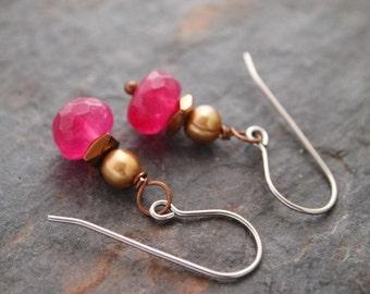 Pearls and Ruby Jade Earrings