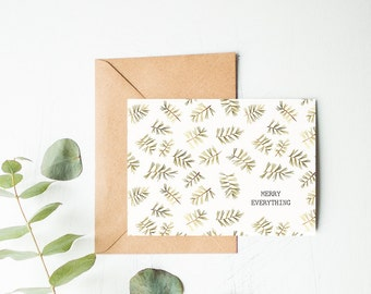Merry Everything Card - Alternative Christmas Card - Nontraditional Holiday Cards - Botanical Print Note Cards - Watercolor Greeting Cards