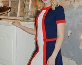 1970s Dress - Vintage 70s Dress - Red White Blue - Mod Dress - Color Blocked - Brady Bunch - Carole King Dress - Polyester - Mini Dress