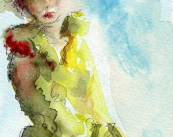 Female Figure, New Size Watercolor Print, 4 x 6, Red Hair, Green Coat, Wall Art Giclee, Romantic Art, Figurative Art, Female Portrait