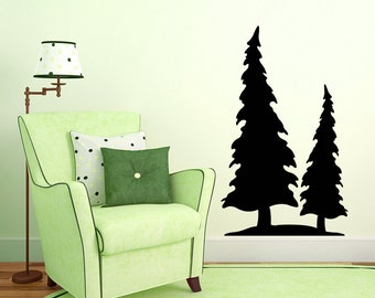 Pine Tree Vinyl Wall Decal, two pines decal, forest decor, woodland pines