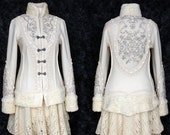 White boiled wool jacket fantasy Wedding beaded embroidered Eco clothing. Size Small. Ready to ship