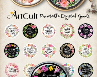 """1"""" (25mm) and 30 mm size Printable BIBLE VERSES circle images for pendants and craft downloadable images print-it-yourself sheets by ArtCult"""