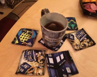 Tardis Doctor Who coasters, Gifts for geeks, set of 6, Dalek cyberman, Exploding Tardis, reversible, stocking stuffers, nerd gifts