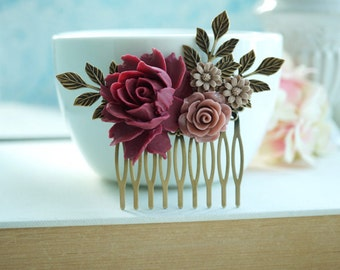 Burgundy Red Flower Comb Marsala Brown Hair Comb Wedding Comb Brown Maroon Dark Red Gold Leaf Branch Flower Bridal Hair Comb Bridesmaid Gift